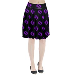 Purple Pisces On Black Background Pleated Skirt
