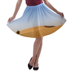 Desert Dunes With Blue Sky A-line Skater Skirt by Ucco