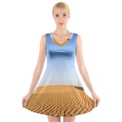 Desert Dunes With Blue Sky V Neck Sleeveless Skater Dress