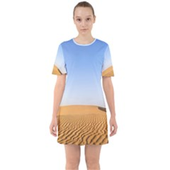 Desert Dunes With Blue Sky Sixties Short Sleeve Mini Dress by Ucco