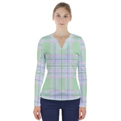 Green Pastel Plaid V Neck Long Sleeve Top by allthingseveryone