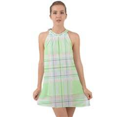 Green Pastel Plaid Halter Tie Back Chiffon Dress