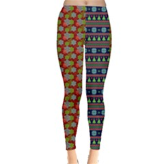 Blue & Red Ugly Christmas Pattern On Leggings