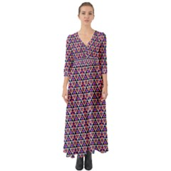 Snowflake And Crystal Shapes 5 Button Up Boho Maxi Dress by Cveti