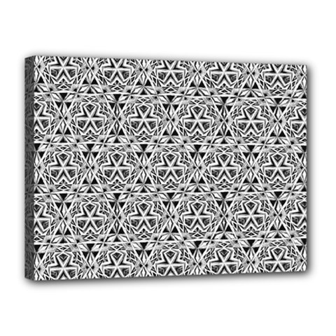 Hand Drawing Tribal Black White Canvas 16  X 12  by Cveti