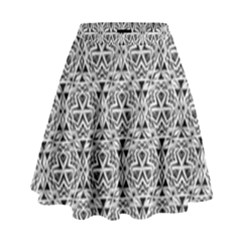 Hand Drawing Tribal Black White High Waist Skirt by Cveti
