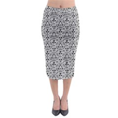 Hand Drawing Tribal Black White Midi Pencil Skirt by Cveti