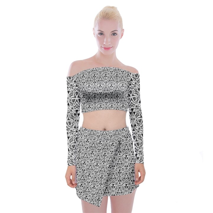 Hand Drawing Tribal Black White Off Shoulder Top with Mini Skirt Set