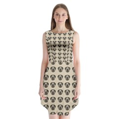 Puppy Dog Pug Pup Graphic Sleeveless Chiffon Dress