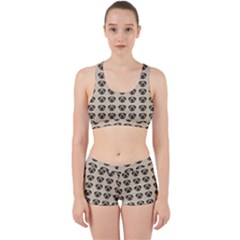 Puppy Dog Pug Pup Graphic Work It Out Sports Bra Set by Celenk
