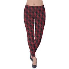 Black And Red Quilted Design Velvet Leggings by SageExpress