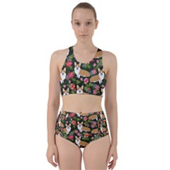 Welsh Corgi Hawaiian Pattern Florals Tropical Summer Dog Racer Back Bikini Set