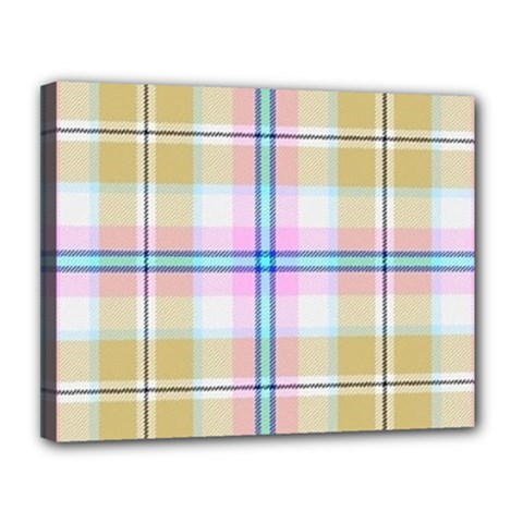 Pink And Yellow Plaid Canvas 14  X 11  by allthingseveryone