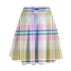 Pink And Yellow Plaid High Waist Skirt