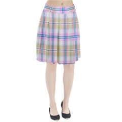 Pink And Yellow Plaid Pleated Skirt