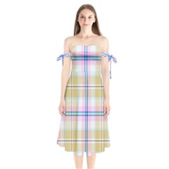 Pink And Yellow Plaid Shoulder Tie Bardot Midi Dress by allthingseveryone