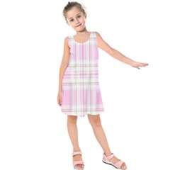 Pink Pastel Plaid Kids  Sleeveless Dress by allthingseveryone