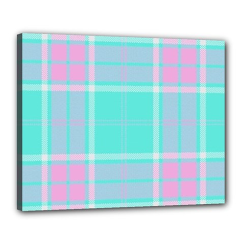 Blue And Pink Pastel Plaid Canvas 20  X 16  by allthingseveryone