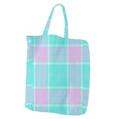 Blue And Pink Pastel Plaid Giant Grocery Zipper Tote by allthingseveryone