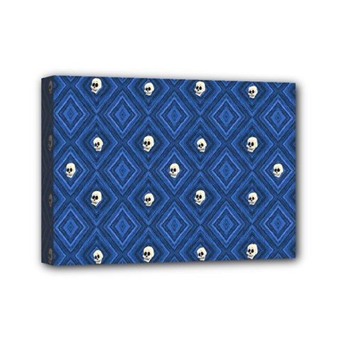 Funny Little Skull Pattern, Blue Mini Canvas 7  X 5  by MoreColorsinLife