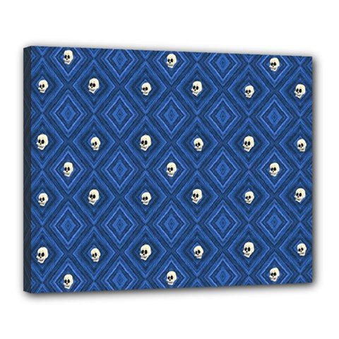 Funny Little Skull Pattern, Blue Canvas 20  X 16  by MoreColorsinLife