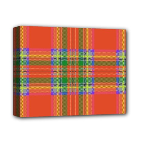 Orange And Green Plaid Deluxe Canvas 14  X 11  by allthingseveryone