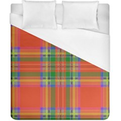 Orange And Green Plaid Duvet Cover (california King Size) by allthingseveryone