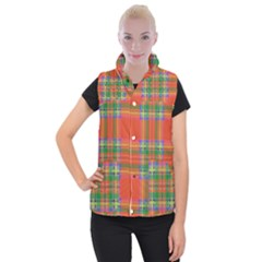 Orange And Green Plaid Women s Button Up Puffer Vest by allthingseveryone