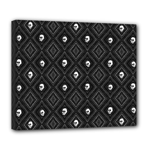 Funny Little Skull Pattern, B&w Deluxe Canvas 24  X 20   by MoreColorsinLife