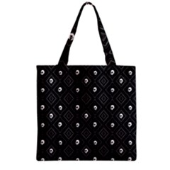 Funny Little Skull Pattern, B&w Grocery Tote Bag by MoreColorsinLife