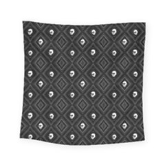 Funny Little Skull Pattern, B&w Square Tapestry (small) by MoreColorsinLife