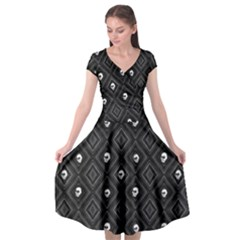 Funny Little Skull Pattern, B&w Cap Sleeve Wrap Front Dress by MoreColorsinLife