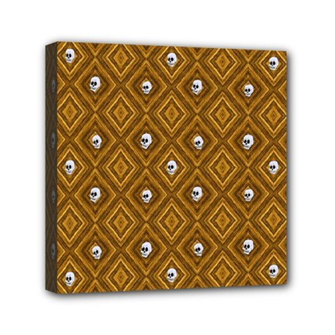 Funny Little Skull Pattern, Golden Mini Canvas 6  X 6  by MoreColorsinLife