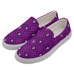 Funny Little Skull Pattern, Purple Men s Canvas Slip Ons by MoreColorsinLife