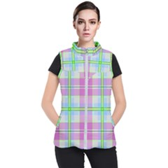 Pink And Blue Plaid Women s Puffer Vest by allthingseveryone