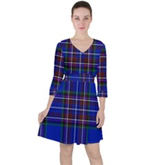 Bright Blue Plaid Ruffle Dress