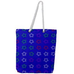 Spray Stars Pattern E Full Print Rope Handle Tote (large)
