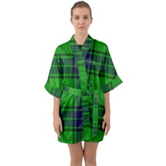 Green And Blue Plaid Quarter Sleeve Kimono Robe