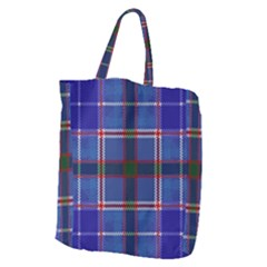Blue Heather Plaid Giant Grocery Zipper Tote by allthingseveryone