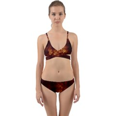 Artsy Brown Trees Wrap Around Bikini Set