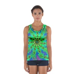Green Psychedelic Starburst Fractal Sport Tank Top  by allthingseveryone