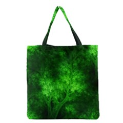 Artsy Bright Green Trees Grocery Tote Bag by allthingseveryone