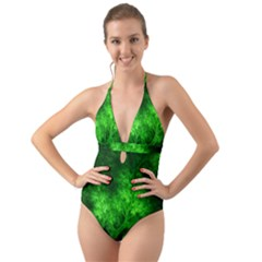 Artsy Bright Green Trees Halter Cut Out One Piece Swimsuit