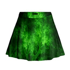 Artsy Bright Green Trees Mini Flare Skirt