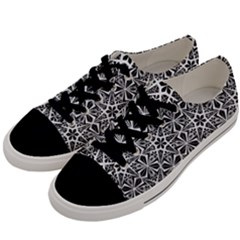 Star With Twelve Rays Pattern Black White Men s Low Top Canvas Sneakers by Cveti