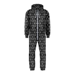 Black And White Ethnic Pattern Hooded Jumpsuit (kids) by dflcprints