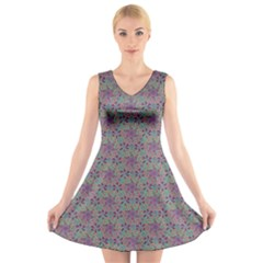 Flower Kaleidoscope Hand Drawing 2 V Neck Sleeveless Skater Dress by Cveti