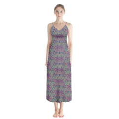 Flower Kaleidoscope Hand Drawing 2 Button Up Chiffon Maxi Dress by Cveti