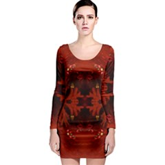 Red Abstract Long Sleeve Bodycon Dress by Celenk