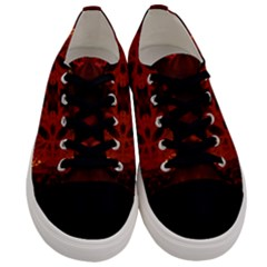 Red Abstract Men s Low Top Canvas Sneakers